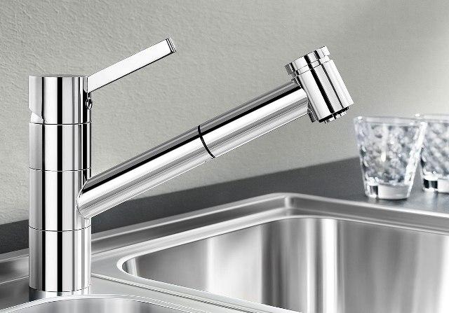 Obrázek galerie pro produkt Blanco TIVO-S béžová champagne/chrom (517615) + DÁREK, Dřezová baterie se sprchou