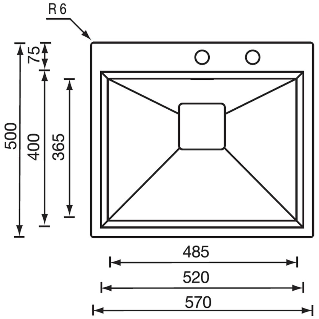 """Obrázek galerie pro produkt CM GLAMOUR MIX 57X50 3"""" Nerezový jednodřez (skříňka 600mm)"""