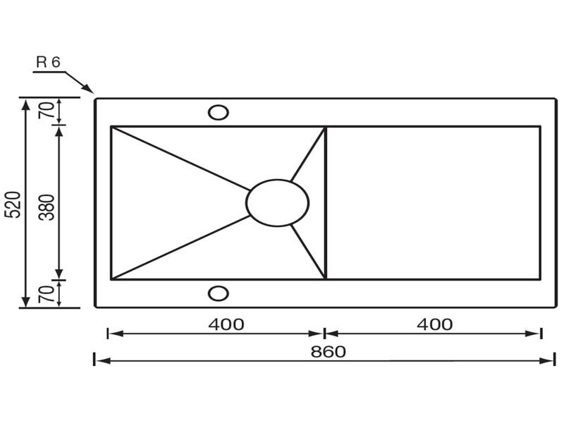 """Obrázek galerie pro produkt CM REVERS 86x52 1V 3"""" Nerezový dřez s odkapem (skříňka 500mm) - AKCE"""