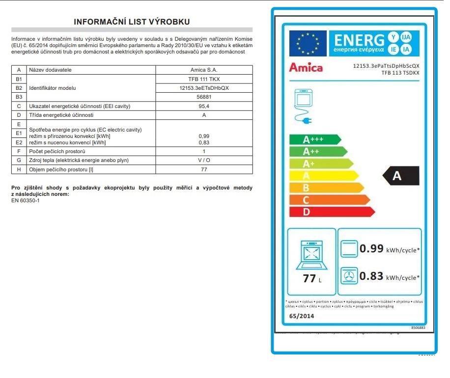 Obrázek galerie pro produkt Amica TFB 113 TSDKX Fusion II + AKCE, Vestavná trouba nerez/černá, SoftSteam