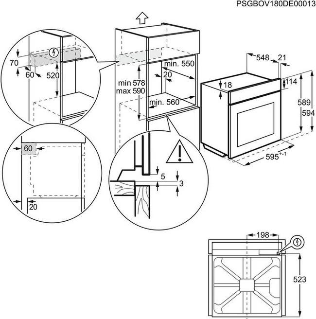 Obrázek galerie pro produkt Electrolux 600 FLEX SurroundCook EOF3C50TX Vestavná trouba nerez, objem 72 litrů