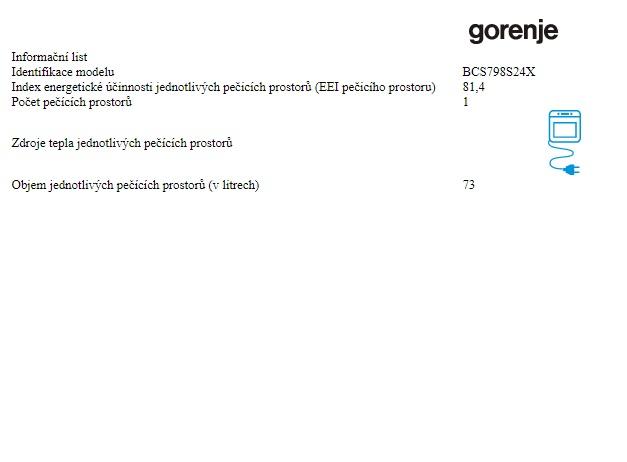 Obrázek galerie pro produkt Gorenje BCS798S24X Superior Kombinovaná parní trouba, GentleClose, ProCook