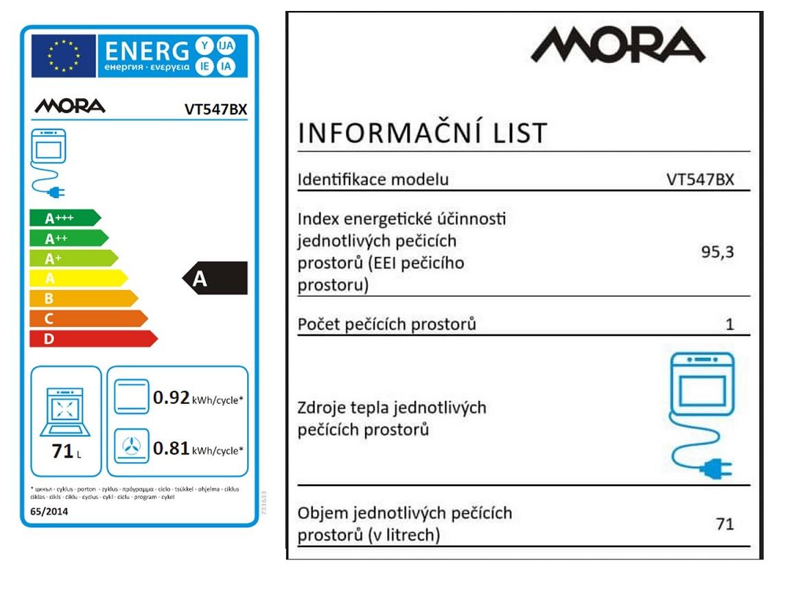 Obrázek galerie pro produkt MORA VT 547 BX + AKCE, Vestavná horkovzdušná trouba černá/nerez