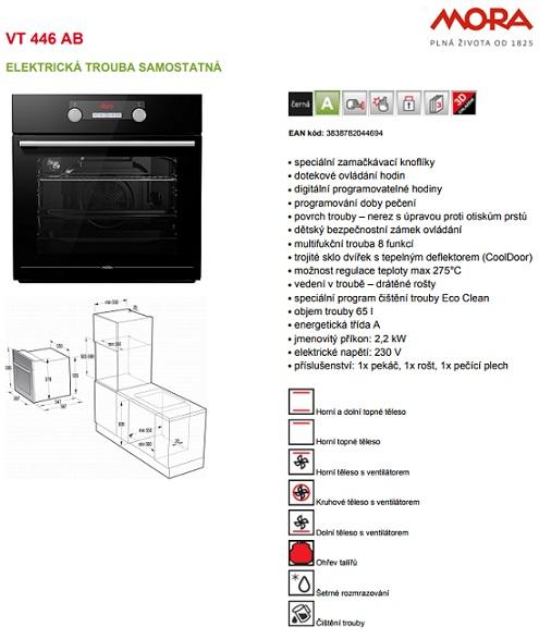 Obrázek galerie pro produkt Mora VT 446 AB Premium + AKCE, Vestavná horkovzdušná trouba černá, Drátěné rošty