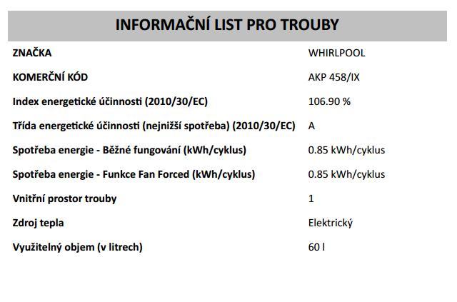 Obrázek galerie pro produkt Whirlpool AKP 458/IX Actual Horkovzdušná trouba nerez 63L - AKCE