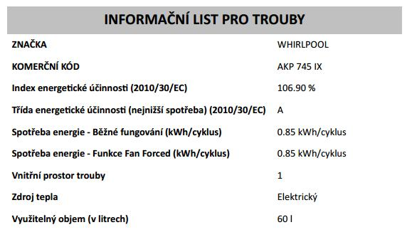 Obrázek galerie pro produkt Whirlpool AKP 745 IX Absolute Core Horkovzdušná trouba nerez, SmartClean